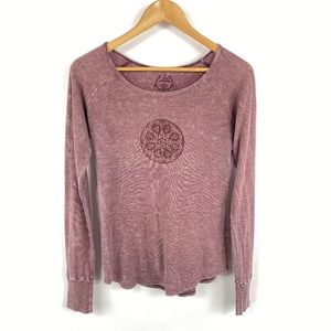 Prana Long Sleeve Heathered Burgundy Tee Yoga 3646